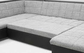 Wohnlandschaft Bettfunktion Farb Materialmix Webware Kunstleder U Couch Do Quinto