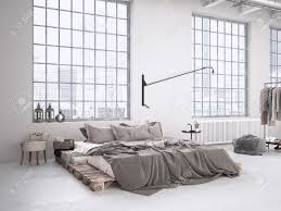 Modern Industrial Bedroom Modern Industrial Bedroom In A Loft 3d Rendering Stock Photo