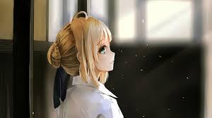green eyes saber anime s bangs blonde looking back hair