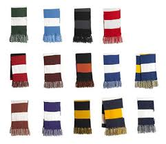 rugby scarves w tassels 100 light weight acrylic 61 x 8