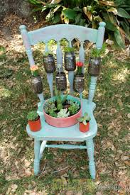 salvaged chair garden planter, gardening, mason jars, repurposing  upcycling, succulents, From