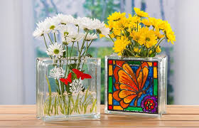 erfly painted stained glass block vase