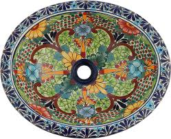 mexican talavera ceramic hand painted bathroom oval sink