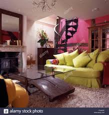 Pink Rugs For Living Room Lime Green Sofa And Unusual Glass Wood Coffee Table In A Fuchsia