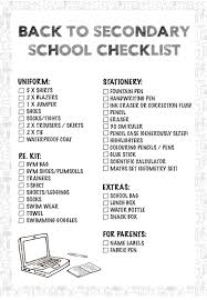 Checklist For School Primary And Secondary Back To School Checklist