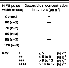 Ultrasound Intensity Chart Chart Shows Doxorubicin Concentration In Scc7 Tumors For