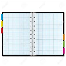 Illustrated Graph Paper In A Note Book With Colored Tabs