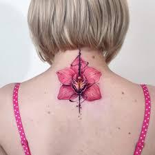 фото красивого тату орхидеи на позвоночнике девушки фото рисунки