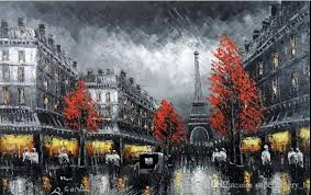 2018 framed paris eiffel tower black white art 1890 s scene handpainted scenery art oil painting on high quality canvas size can customized from