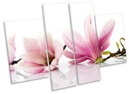 image is loading floral flowers magnolia canvas wall art multi panel  on magnolia canvas wall art with floral flowers magnolia canvas wall art multi panel print box frame