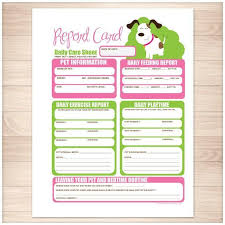 Pet Information Template Printable Goodie For You Pet Sitting Dog Report Card Form