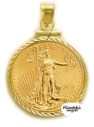 1 4 10 gold eagle 24k gold coin encased in a 14k gold coin bezel pendant
