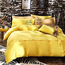yellow quilt cover yellow pure cotton solid color comforter bedding sets plain bed linen duvet cover
