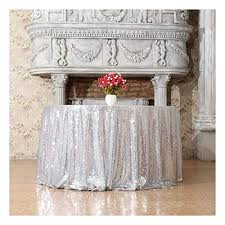 3e home 108 inch round sequin tablecloth for party cake dessert table exhibition events silvery