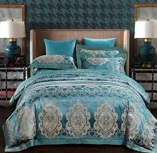 embroidered blue queen duvet cover sets luxury bedding set european satin jacquard bedspread sheets bed sheet king size king size comforter sets under