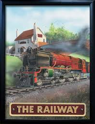railway pub sign art poster print pub world memorabilia home bar accessories breweriana ideal gifts
