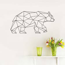 geometric bear wall stickers for kids rooms vinyl wall decals animals removable adhesive art wallpaper poster on geometric bear wall art with geometric bear wall stickers for kids rooms vinyl wall decals