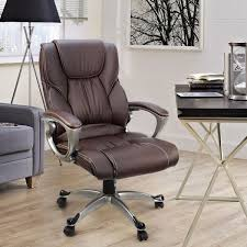 brown leather office chairs. Brown PU Leather High Back Office Chair Executive Task Ergonomic Computer Desk Chairs E