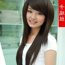 Layered Hairstyle With Side Bangs Korean Cute Long Straight