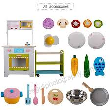life fun wooden toy kitchen toddler pretend food playset kids cookware with accessories b078kx3bps play kitchen sets