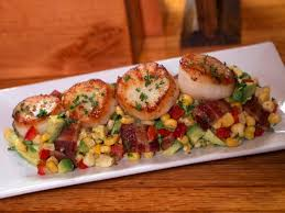 seared scallops with a corn bacon and avocado relish recipe food network