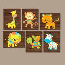 safari animals nursery wall art jungle animals baby boy pictur