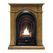 convertible vent free dual fuel gas fireplace in almond finish