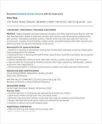 Preschool Assistant Teacher Resume Resume Sample Of Teacher