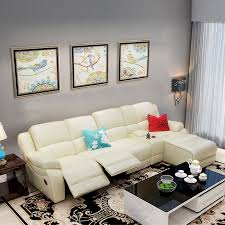 beige recliner sectional sofa in leather faux leather with cup holder console and right facing chaise lh f5 1 decoraport canada