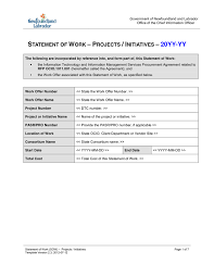 Simple Statement Of Work Template Statement Of Work Template In Word And Pdf Formats
