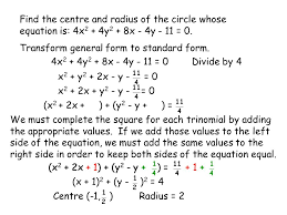 find the centre and radius of the circle whose equation is 4x2 4y2