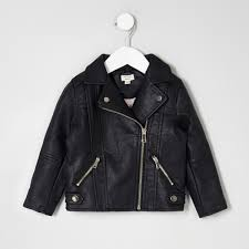 mini girls black faux leather biker jacket baby girls coats mini girls black faux leather biker jacket