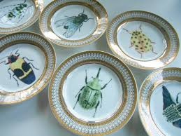 gold porcelain buginsect dessert plates  beautiful