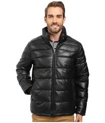 best retion tommy hilfiger quilted faux leather puffer jacket black men clothing ky788