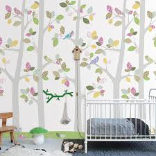 woodland scene nursery wallpaper with birds in the trees