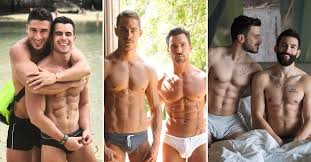 Gay shirtless muscle boys kissing
