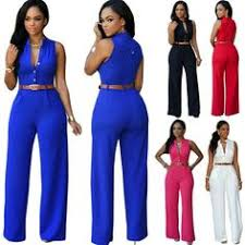 Sexy <b>Women's</b> Deep <b>V</b>-<b>Neck</b> Sleeveless Pant Jumpsuit <b>S</b>-<b>XL</b> 11 ...