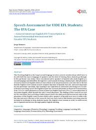 Learn the target words in the nato. Pdf Speech Assessment For Uide Efl Students The Ipa Case General American English Ipa Transcription To Assess Universidad Internacional Del Ecuador Efl Students