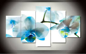 original oil ink print blue orchid painting on canvas wall art picture home decor fiv  on blue orchid canvas wall art with original oil ink print blue orchid painting on canvas wall art