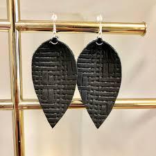 black jojo waffle earrings