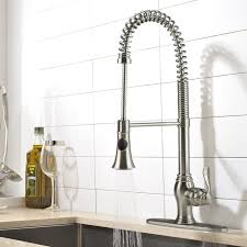 Ispring Brushed Nickel Kitchen Faucet Stainless Steel Pull Down Swivel Sprayer Single Handle One Hole Modern Contemporary Faucet