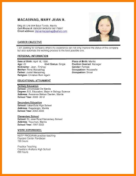 Resume Samples Philippines Awesome Resume Sample For Teachers In