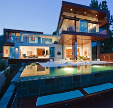 this hollywood hills home designed by embledge pairs geometric forms with 180 degree views of los angeles