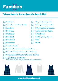 School Checklist Back To School Checklist Families Online