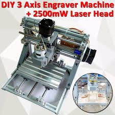 3 axis diy mini cnc milling engraving machine kit 2500mw laser engraver head