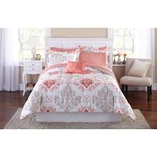 Mainstays Coral Damask Bed in a Bag Bedding Set - Walmart.com &  Adamdwight.com