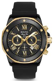 buy bulova watches shipping on bulova watches from watchco bulova mens marine star chronograph gold stainless steel case black dial round watch 98b278