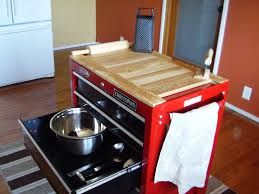 Tool box repurposed for kitchen center island. Wooden table top is ...