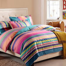hot pink blue and green multi color rainbow stripe print vogue with multi colored bedding sets