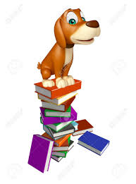 3d rendered ilration of dog cartoon character with book stack stock ilration 53170332